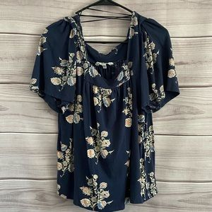 Lucky Brand Floral Puff Sleeve Peasant Blouse